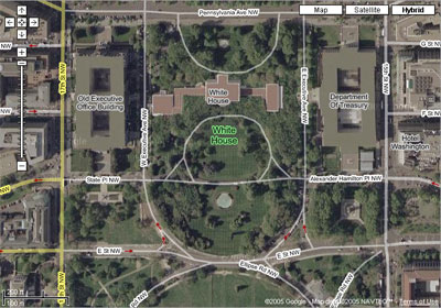 La Casa Bianca su Google Maps Hybrid