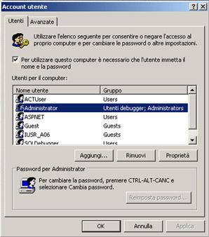 Gestione utenti in Windows XP