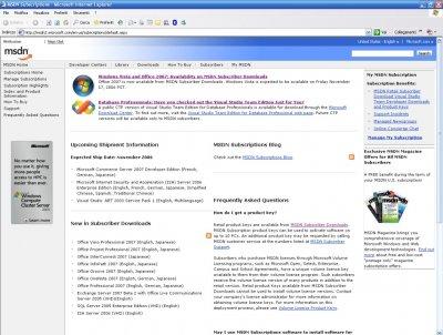 Windows Vista RTM su MSDN