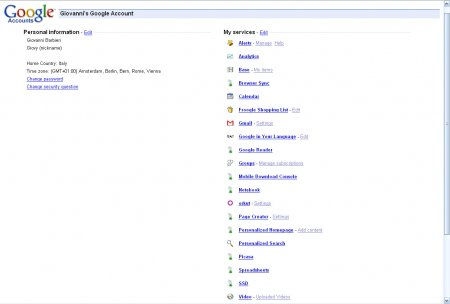 Google Accounts Screenshot