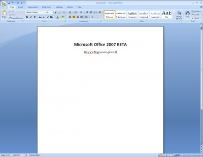 Microsoft Word 2007 BETA 1